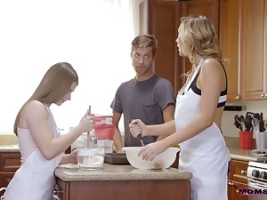 Dude fucks nice stepdaughter and hot blooded stepmom in the kitchen