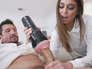Riley Reid fucks the brush step daddy with fleshlight and gives a in agreement blowjob