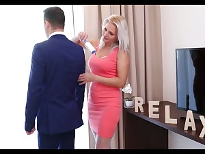 Lustful stepmom about white stockings Kathy Anderson seduces her stepson