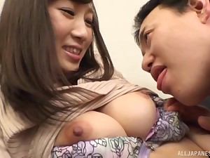 Unadulterated night Japanese pamper blows cock and gets fucked missionary