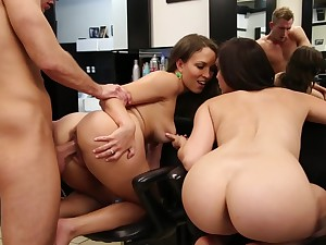 sexy babes Lily Love and Holly Michaels share long cock and balls
