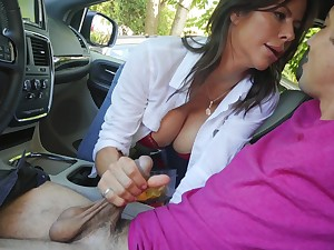 Mommy sucks dick and rides flannel close by the brush ass