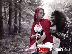 The in flames riding hood Brind Love gets banged by woodcutter outdoors