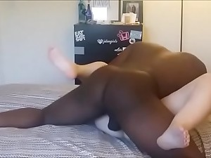 black gay blade destroys wet and shaved girl's cunt in the air his huge dick