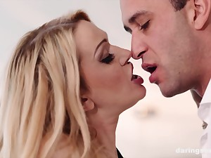 Blonde comminuted loveliness Amber Jayne doggy fucked on the couch