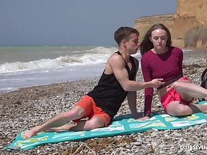 Long haired brunette teen Alex Diaz rides dick on high the beach