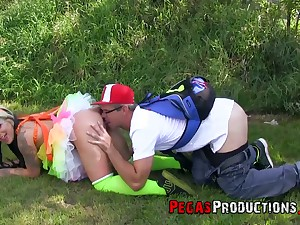 Chick in funny apparatus Lily Fatale is fucked by peculiar boyfriend -carat the grass