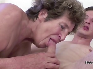 Granny Sweet-talk Young Cutie Girl Boy to Have Intercourse her in her AssHole