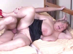 Young throbbing cock for a fat slut with huge nipples and chest