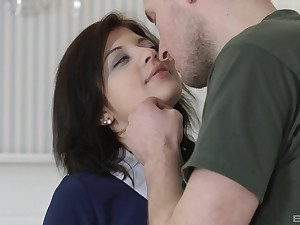 Rebecca Rainbow likes tit job plus a blowjob before rough sex with her sweetheart