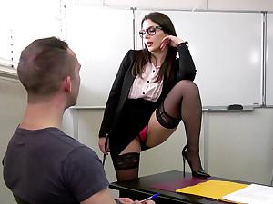 Lewd DP threesome with teacher