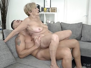 Wrinkled and saggy granny revealing powerful with a beamy cock