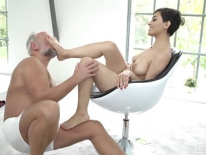 Horny young Euro whore sucks grandpa load of shit