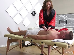 Young masseuse Stacy Cruz rides a chunky dick of her regular customer