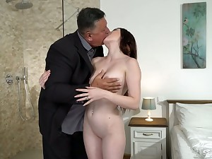 Cute young dour Mia Evans is eager for crazy making love with experienced venerable stepdad