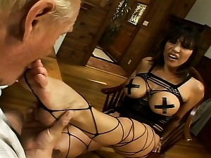 Take charge brunette spreads will not hear of legs to get banged by an older dude