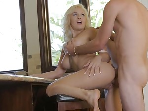 Blondie piece of baggage is toying with her nips while her beau is softly eating her cooch