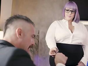 Nasty BBW secretary seduces and fucks her inviting boss Charles Dera