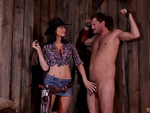 BDSM fetish lover Jasmine Jae dressed as A a impermanent humiliates will not hear of slave