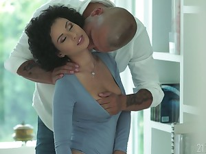Libidinous babe more afro curls Stacy Bloom gives a sensual blowjob and gets fucked