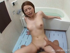 Small interior Asian sneaks her boyfriend to the bathroom for a hot fuck